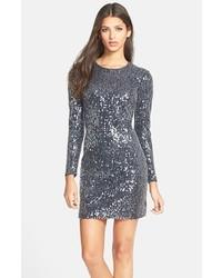 Grey Sequin Sheath Dress