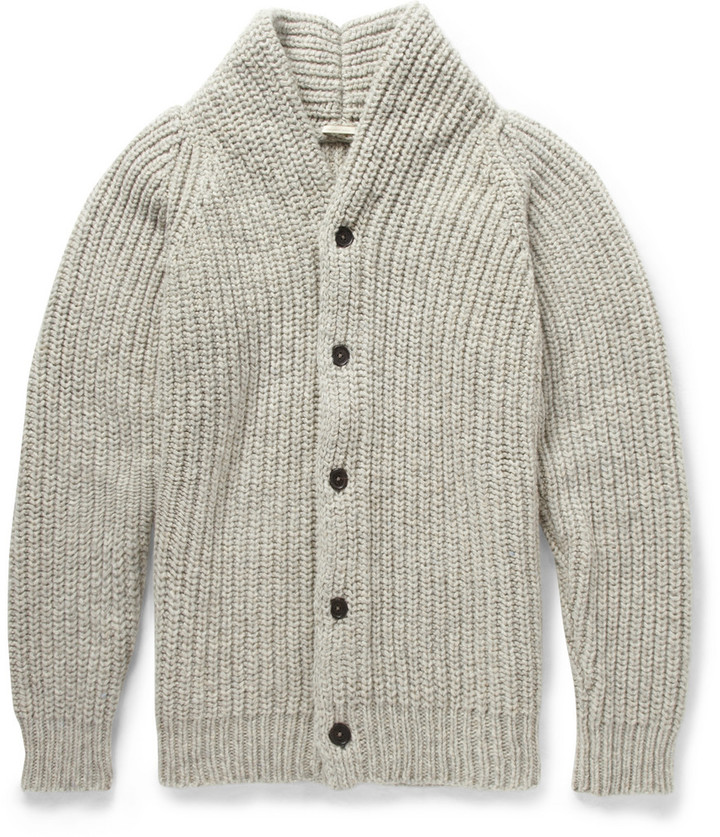 ... Massimo Alba Chunky Mouline Wool Shawl Collar Cardigan ...