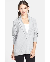 Hermosa by Christina E. Shawl Collar Top Heather Grey Small