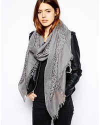 Asos Wool Mix Open Weave Scarf Gray