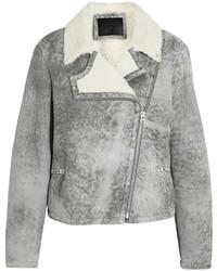 Mcq alexander mcqueen distressed shearling biker jacket medium 400958
