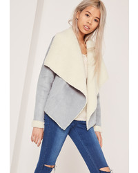 Missguided Faux Shearling Waterfall Jacket Grey