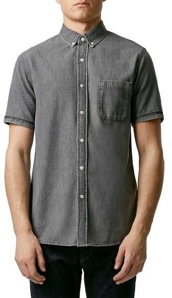 e65d3013abd ... Topman Slim Fit Short Sleeve Denim Shirt ...