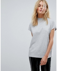 Weekday Prime T Shirt In Grey Melange Melange
