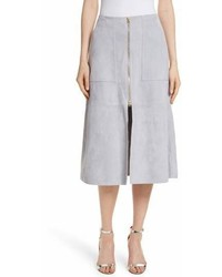 Grey Slit Midi Skirt