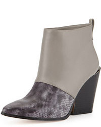 Grey Snake Leather Ankle Boots