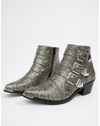 Pieces Snake Effect Ankle Boot
