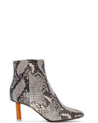 Vetements Grey Snakeskin Embossed Ankle Boots