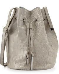 Grey Snake Leather Bucket Bag