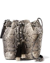 Tasseled python effect leather bucket bag snake print medium 740899