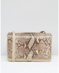 Leather shoulder bag in faux snake mix medium 832665
