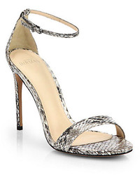 Grey Snake Leather Heeled Sandals