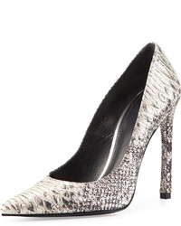 Grey Snake Leather Pumps