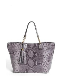 Tory Burch Thea Large Snake Embossed Leather Tote Opal Grey