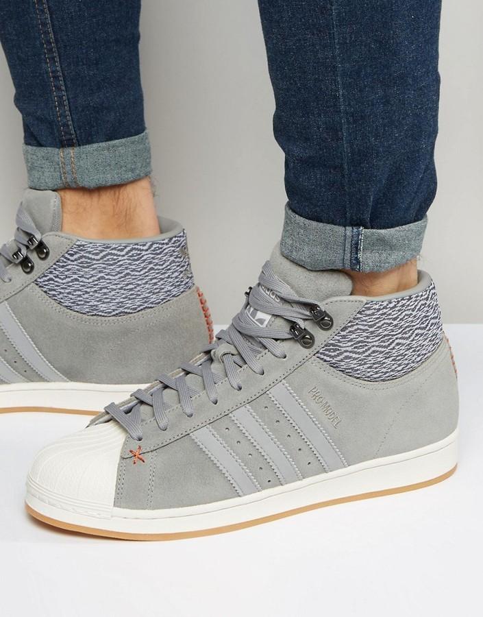 3912f16d5cb8 ... adidas Originals Pro Model Bt Sneakers In Gray Aq8160 ...