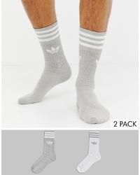adidas Originals 2 Pack Socks Grey White