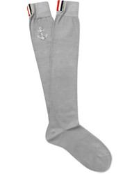 Thom Browne Anchor Patterned Cotton Blend Over The Calf Socks
