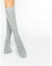 Johnstons of Elgin Gray Cashmere Long Cable Socks