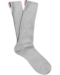 Thom Browne Ribbed Cotton Over The Calf Socks
