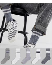 ASOS DESIGN Sports Socks With Grey Marl 5 Pack