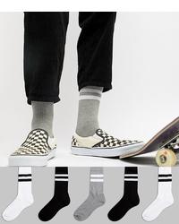 ASOS DESIGN Sports Style Socks 5 Pack In Monochrome