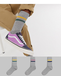 ASOS DESIGN Sports Style Socks In Grey Base With Retro 2 Colour Stripes 3 Pack