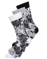 YOURTURN Tropical 3 Pack Socks Whiteblack