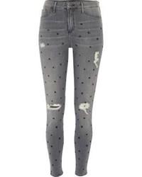 Grey Star Print Skinny Jeans
