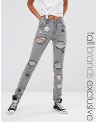 Glamorous Tall Distressed Boyfriend Jean With Sequin Star Detail