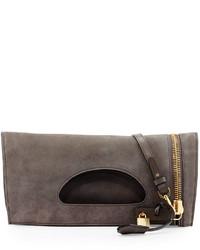 Grey Suede Crossbody Bag
