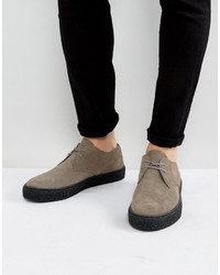 Lace up derby shoes in gray suede with black sole medium 4418918