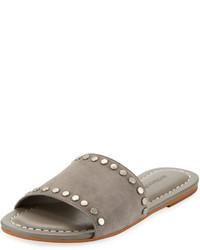 Grey Suede Flat Sandals