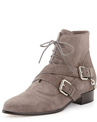 Bryon suede chain back point toe bootie gray medium 126964