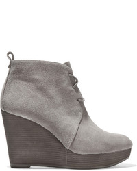 Michl michl kors pierce suede wedge ankle boots gray medium 451291