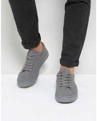 ASOS DESIGN Lace Up Trainers In Grey Real Suede
