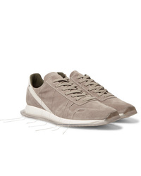 Rick Owens New Vintage Runner Leather Trimmed Suede Sneakers