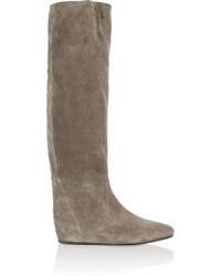 Lanvin Suede Wedge Knee Boots