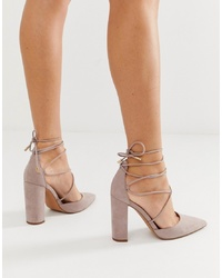 ASOS DESIGN Power Trip High Block Heels In Taupe