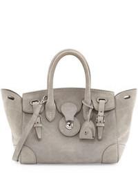 Grey Suede Satchel Bag