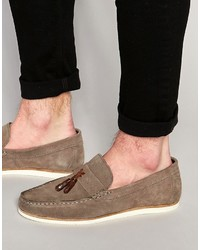 Brand tassel loafers in gray suede with white sole medium 591203