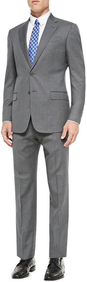 Armani Collezioni G Line Plaid Suit Mid Gray | Where to buy & how ...