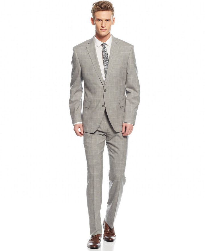 Tallia Light Grey Windowpane Slim Fit Suit | Where to buy & how to ...
