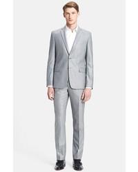 Versace Trend Fit Textured Wool Suit Light Grey 56