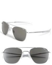 Randolph Engineering 55mm Aviator Sunglasses Matte Chrome Grey