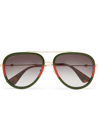 Gucci Aviator Style Acetate And Gold Tone Sunglasses