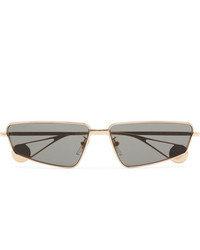 Gucci Rectangle Frame Gold Tone Sunglasses