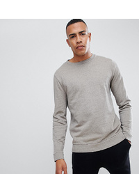 ASOS DESIGN Tall Sweatshirt In Overdyed Beige Marl