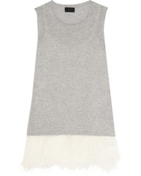 J.Crew Collection Feather Trimmed Cashmere And Silk Tank Gray