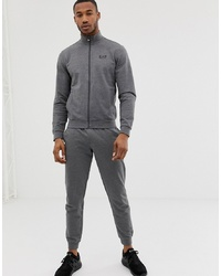 EA7 French Terry Logo Tracksuit In Grey