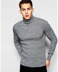 Asos Brand Muscle Fit Ribbed Roll Neck In Black Twist